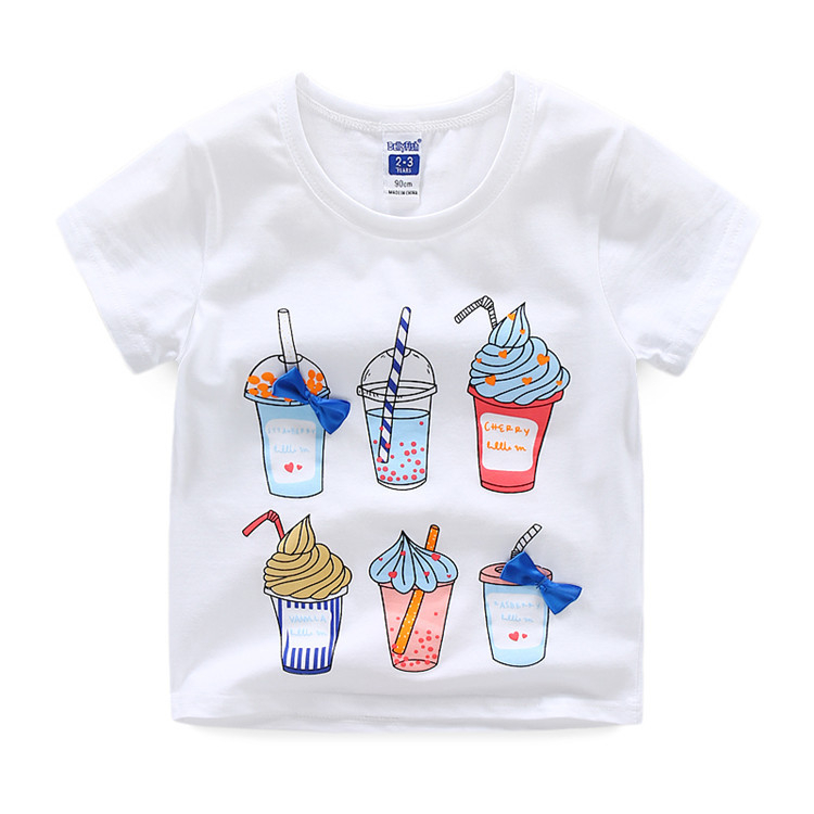 100% Cotton Round Neck White Kids Ice cream Printing T-shirts Tees