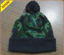 Fashion CAMO Stripe knitted winter hat with a top ball