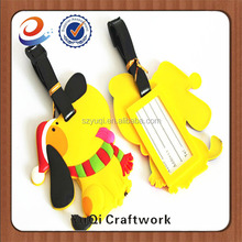 Factory Professional animal cute yellow dog shape luggage tag rubber luggage tag