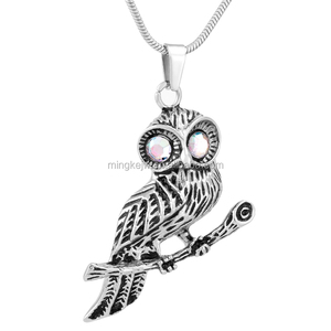 IJD9757 Owl pendant animal design necklace pet cremation urns ashes holder keepsake jewelry