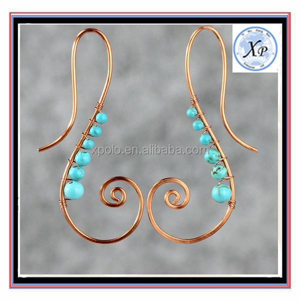 Factory Price Copper Scroll turquoise wiring earring