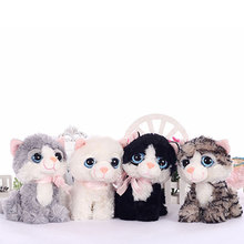 19CM Small Kawaii BIG EYES PLUSH CATS Stuffed Animals Grey White Black Brown Kitten Soft Toys for Children Kids Gifts