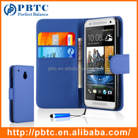Set Screen Protector Stylus And Case For HTC One Mini , Dark Blue Leather Wallet Cell Phone Case Cover