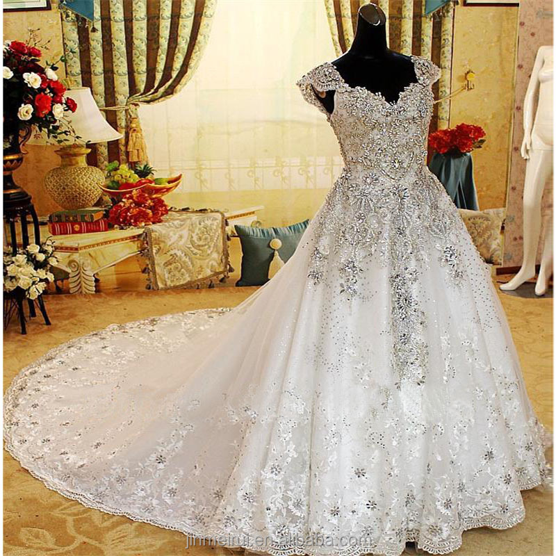 2017 New Wedding Dresses Romantic Diamonds Crystal Lace Organza Cap Sleeve White Luxury Wedding Dress Formal Bridal Gowns