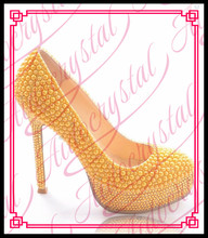 Aidocrystal Handmade Fashion Yellow Pearl Wedding Shoes Luxury Rhinestone Stiletto Heel Bridal Dress Shoes For Girls