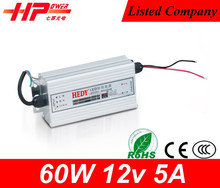 Top sale Rainproof series 60W 12V 5A constant voltage CE RoHS FCC approved electronic led driver 12v power adapter