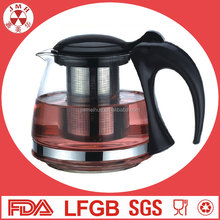 China custom hot sale gift 4 cup unique tea kettle clear cooffeepot set glass tea pot with stainless steel infuser