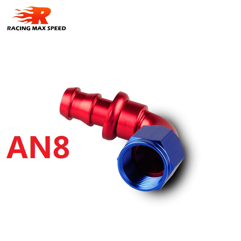 Hot Sale 90 degree oil braided hose fitting Push On Hose End Blue and Red