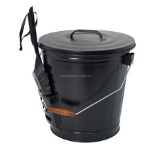 New design outdoor garden black metal ash bucket with shovel