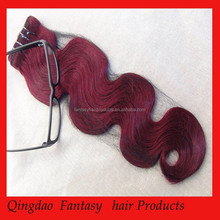 Best Quality Best Colored Best Price dark red color human hair weaving