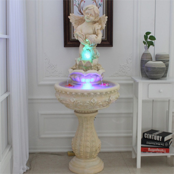 Good Quality Angel Baby Humidifier Fish Pond Garden Polyresin Indoor Water Fountain