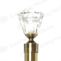 2016 popular diamond style fashionable decorative crystal curtain rod finial on sale factory directly