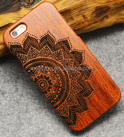 Laser engrave wooden mobile covers half mandala shape custom cell phone carved wood case for iphone 5 5C 5S 5se