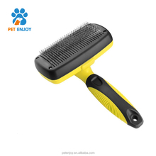 Amazon hot sale dog and cat long thick hair deshedding tool,self-cleaning pet brush grooming comb