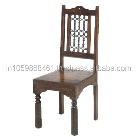 Attractive Iron Net Designed Wooden Chair