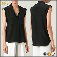 black sleeveless ladies modern style latest blouse design 2015