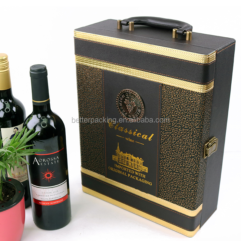 <strong>Black</strong> Gold Quality Lock PU Leather 2 Slot Wine Gift Packaging Box with Accessory