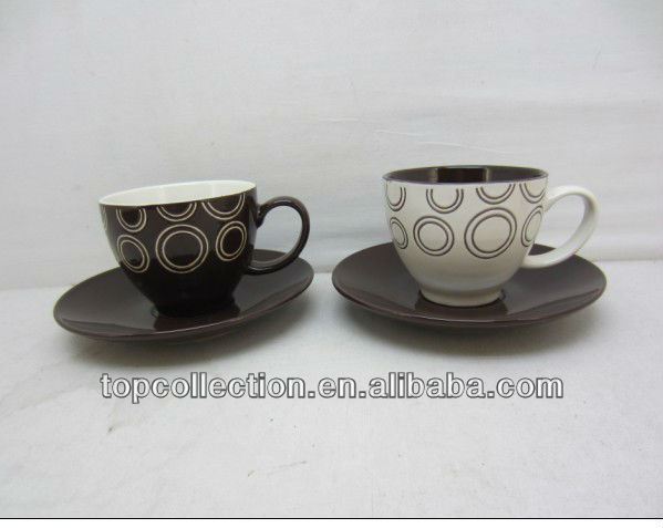 CERAMIC ROUND SHAPE 3OZ COFFEE CUP AND SAUCER GIFT BOX HOT SALES