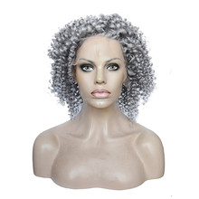 Silver grey human hair lace wig, Glueless full lace human hair wigs for black women, Brazilian Virgin Hair Curly Lace Front Wig