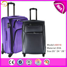 High quality airport polyester trolley luggage, 600d polyester soft size suitcases imported