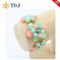 European and American Fashion Jewelry Candy Color Bracelets Vintage Crystal Resin Flower Women Bracelets