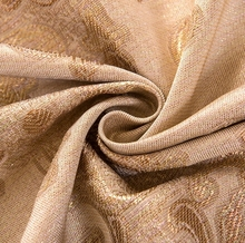 European style gold luxury polyester floral jacquard fabric for window drapes and curtains