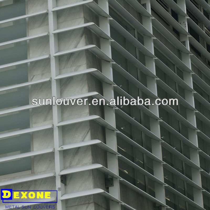 Exterior aluminium louvered shutters parts of outdoor sun shade for building cladding