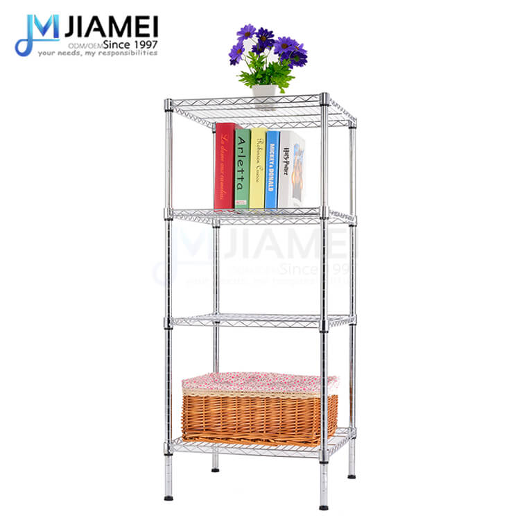 4 Tiers Light Duty Black Chrome Wire Shelving(JSW181848)