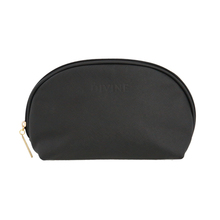Black Twilled pu leather cosmetic bag with embossed logo