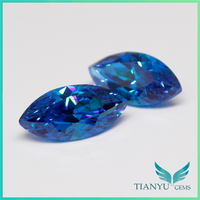Free Sample Gemstone Gem Wholesale Blue Marquise Cut Synthetic Cubic Zirconia Earrings