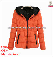 cute lady/girl winter/fall wear zipper welt pocket korea fashion short coat with hood