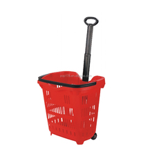 PP Plastic supermarket Shopping Basket With 2 Wheels