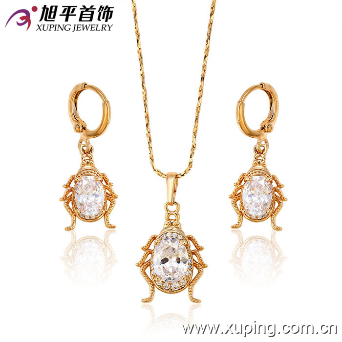 62922 Xuping 2017 best selling custom engraved pendant CZ stone jewellery beatle shaped set
