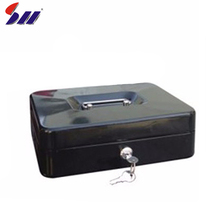Customized size bank protection money metal handle lockable cash box