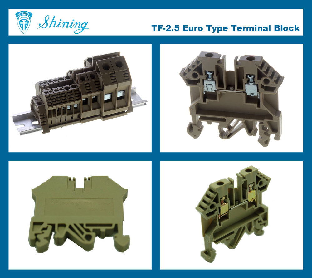 TF Series Euro Type Screw Clamp Feed Through Terminal Block