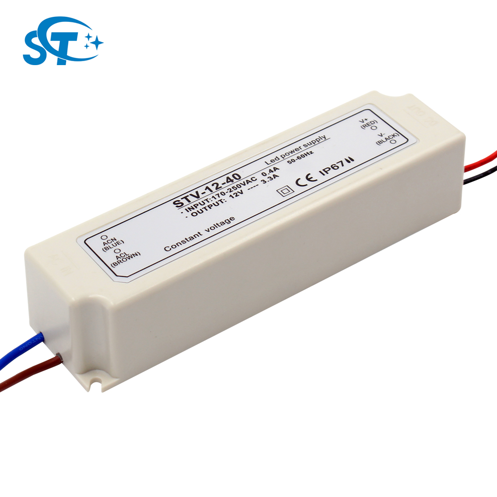 220v to 12v / 24v power supply outdoor plastic cover ip67 waterproof led driver 40w