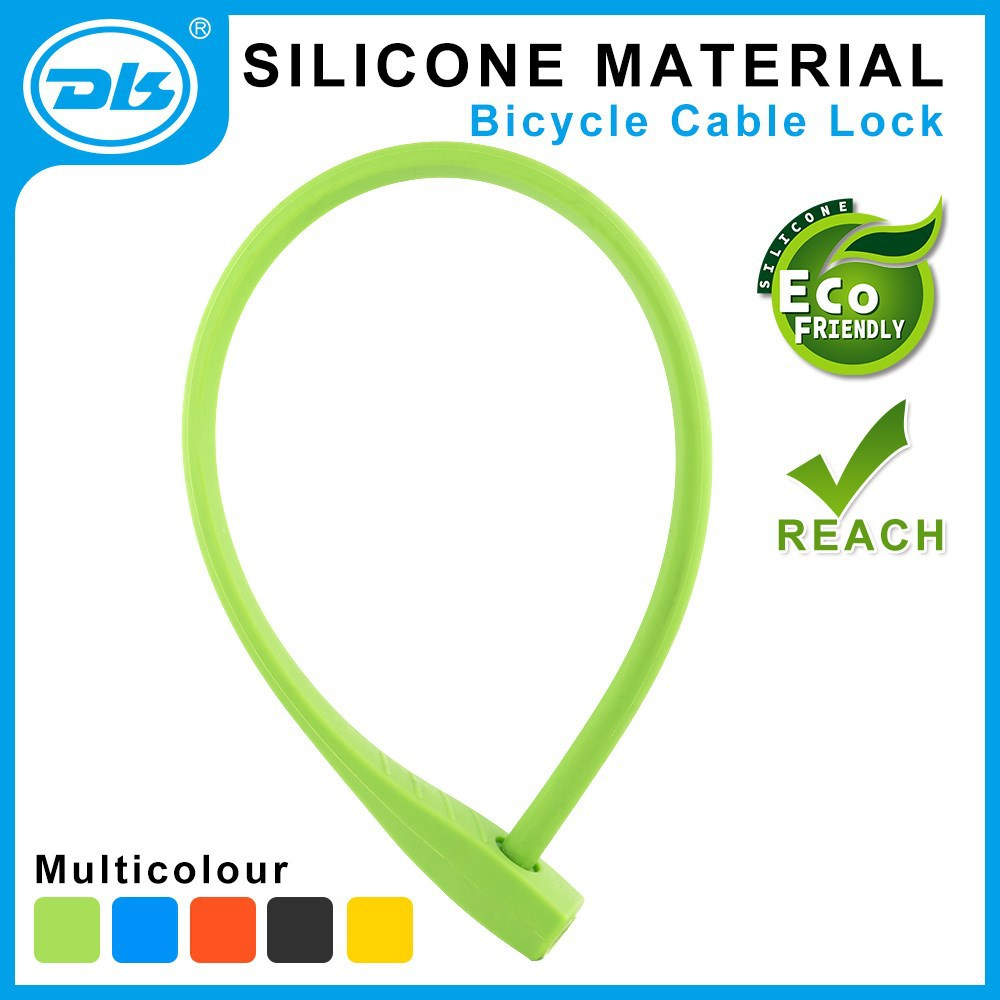 ECO-Friendly Silicone overmoulded steel cable lock for bicycle bike lock