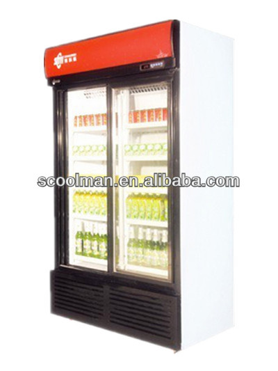 Vidrio slidng puerta refrigerador de la bebida doble - Nevera doble puerta ...