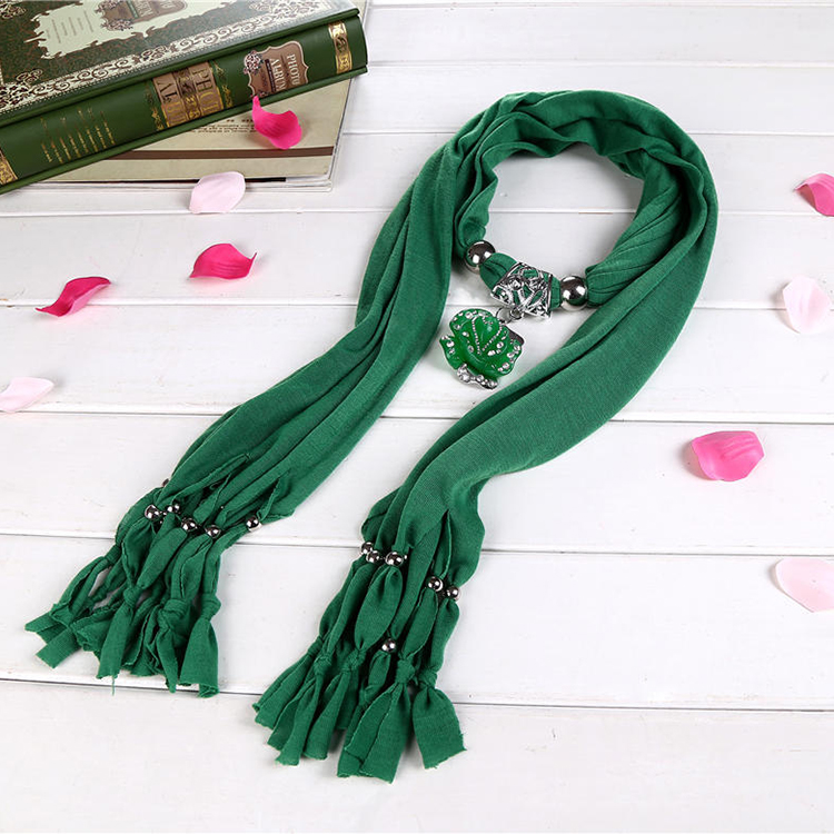 Fashionable polyester glitter girls necklace jeweled scarf with fringe
