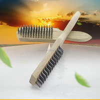 Wooden steel wire cleaning brush polishing hand tool
