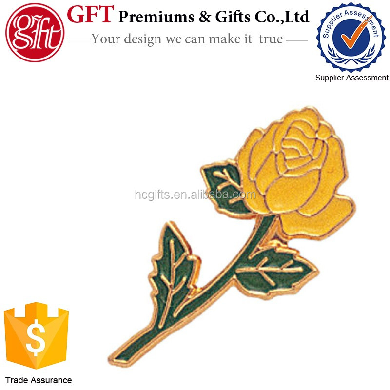 Custom 1Inch Gold Plated Enamel LONG STEM YELLOW ROSE PIN
