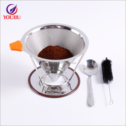 Stainless steel coffee filters / reusable V-type cup filter cone filter drip coffee maker tool sets For Home & Office