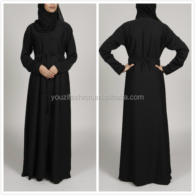 Latest dubai islamic clothing with long sleeve maxi dress black arabic abaya burqa traditional abaya online shopping