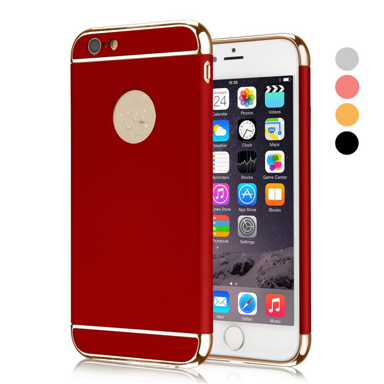 Luxury Removable 3 in 1 Hard Plastic Electroplating PC Glossy Back Cover with Original Logo Circle for iPhone 5SE 5S