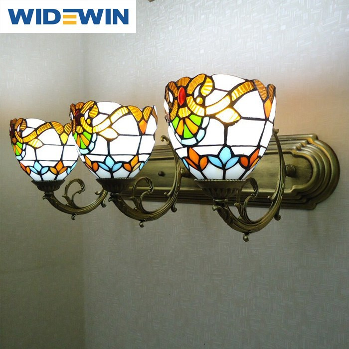 3 head wall lamp tiffany European toilet bath lens headlight, wrought iron lamps and lanterns of bedroom the head of a bed