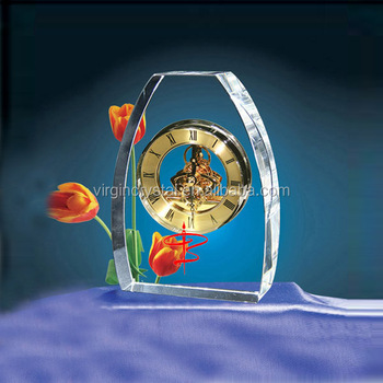 High Quality Clear And Transparents K9 Crystal Mechanical Clock For Souvenirs