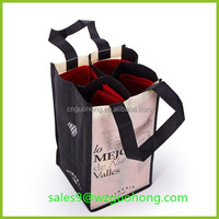 4 bottle printed non woven wine gift bag
