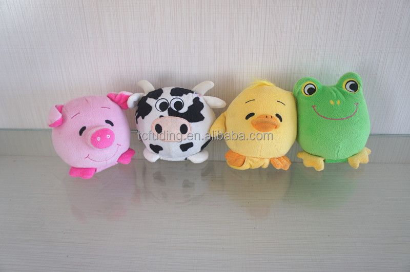 "4.5"" cute stuffed animals electronic toy, quaky plush toy pink pig, cow, chicken, frog"