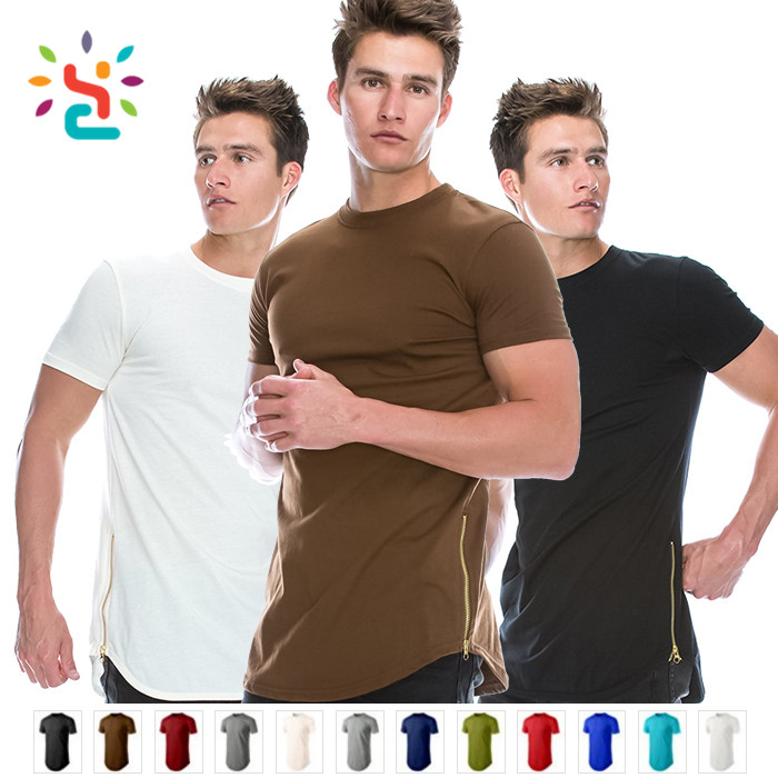 Wholesale mens zipper t shirt custom plain zip round neck oversized t-shirt men long tail t shirt colorful side zipper tees