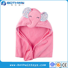 100% cotton materila cartoon pink elephant baby newborn bath towel